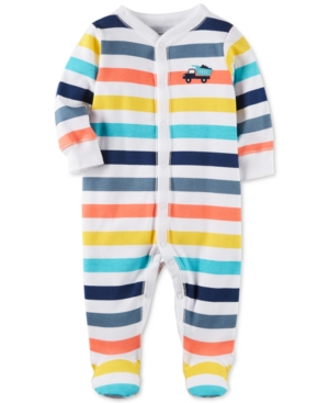 Carters StripePrint Footed Cotton Coverall Baby Boys (024 months)
