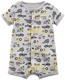 Carter's Construction-Print Cotton Romper, Baby Boys