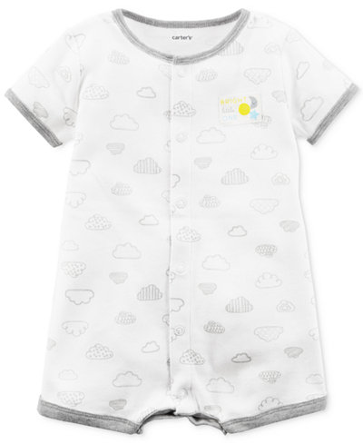 Carter's Cloud-Print Cotton Romper, Baby Girls