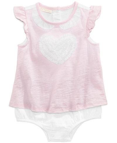 First Impressions Tulle-Heart Skirted Romper, Baby Girls, Created for Macy's