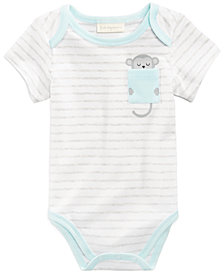 First Impressions Striped Monkey-Pocket Bodysuit, Baby Boys, Created for Macy's