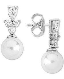 Majorica Sterling Silver Cubic Zirconia & Imitation Pearl Drop Earrings