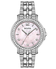 Bulova Women's Stainless Steel Bracelet Watch 34mm, Created for Macy's