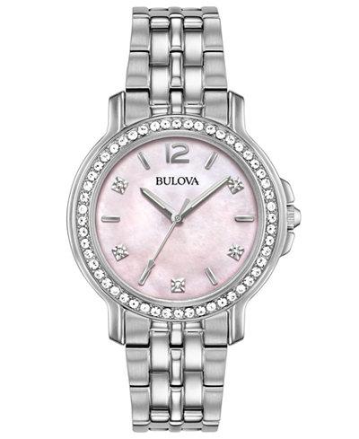 Bulova Women's Stainless Steel Bracelet Watch 34mm, Created for Macy's