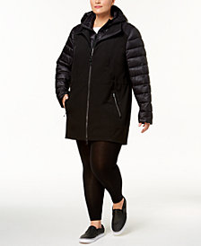 Calvin Klein Performance Hooded Puffer-Sleeve Soft-Shell Jacket
