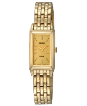 Seiko Watch, Women's Solar Gold-Tone Stainless Steel Bracelet 15mm SUP030