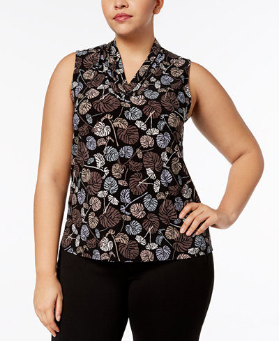 Anne Klein Plus Size Printed Pleated-Neck Shell