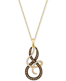 Le Vian Chocolatier® Diamond Swirl Pendant Necklace (1-1/5 ct. t.w.) in 14k Gold