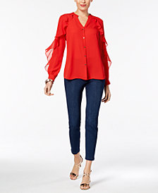Thalia Sodi Ruffled V-Neck Blouse & Medium-Wash Jeggings, Created for Macy's