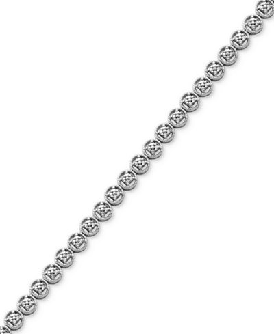 Diamond Accent Circle Link Bracelet in Fine Silver Plate