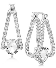 Cubic Zirconia Captured Hoop Earrings in Sterling Silver