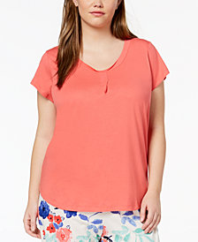 HUE® Plus Size Short-Sleeve Sleep Top