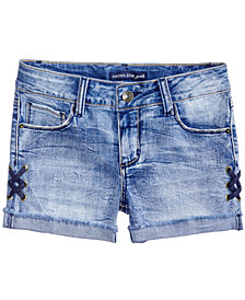 Vanilla Star Lace-Up Denim Shorts, Big Girls