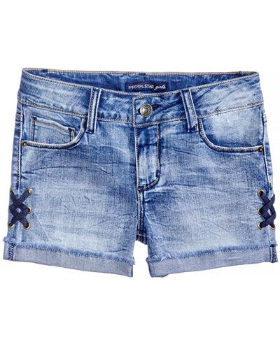 Vanilla Star Lace-Up Denim Shorts, Big Girls
