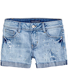 Vanilla Star Pearl-Trim Denim Shorts, Big Girls