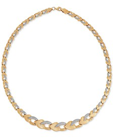 Two-Tone Graduated Link Stampato Collar Necklace in 10k Gold and White Gold