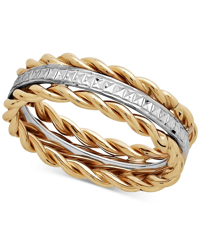 Macy's - Two-Tone Rope Ring in 10k Gold & White Gold