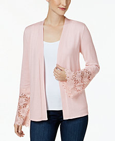 Charter Club Petite Lace-Cuff Completer Cardigan, Created for Macy's