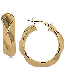 Round Twist Hoop Earrings in 14k Gold