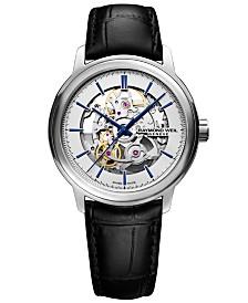 RAYMOND WEIL Men's Swiss Automatic Maestro Black Leather Strap Watch 39.5mm