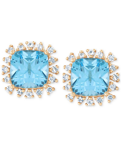 Blue Topaz (3-7/8 ct. t.w.) & White Topaz (1/4 ct. t.w.) Stud Earrings in 14k Gold