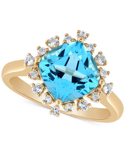 Blue Topaz (3 ct. t.w.) & White Topaz (1/4 ct. t.w.) Ring in 14k Gold