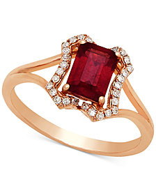 Certified Ruby (1-1/6 ct. t.w.) & Diamond (1/8 ct. t.w.) Ring in 14k Rose Gold