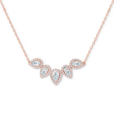 Aquamarine Teardrop Pendant Necklace (1-1/3 ct. t.w.) in 14k Rose Gold