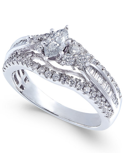 Diamond Marquise Engagement Ring (1 ct. t.w.) in 14k White Gold