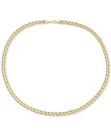 """18"""" Double Twisted Heart Chain Collar Necklace in 14k Gold"""