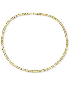 "18"" Double Twisted Heart Chain Collar Necklace in 14k Gold"