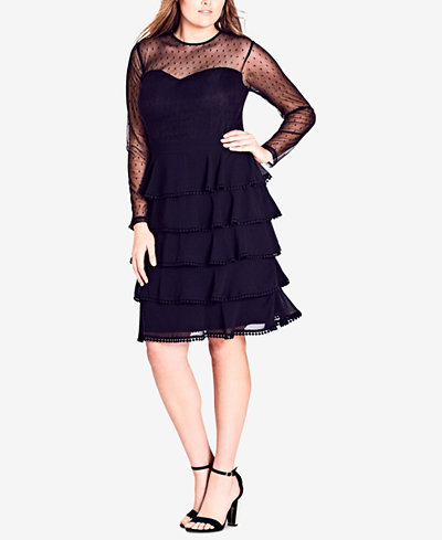City Chic Trendy Plus Size Tiered Illusion Dress