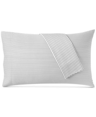 Printed Pinstripe Standard Pillowcase Pair, 500 Thread Count, Created for Macy's