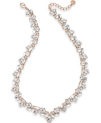 Charter Club Rose Gold-Tone Crystal Collar Necklace, Created for Macy's