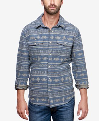 Lucky Brand Men S Aztec Flannel Shirt Casual Button Down