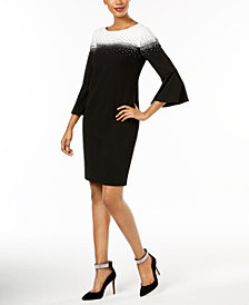 Jessica Howard Embellished Bell-Sleeve Dress