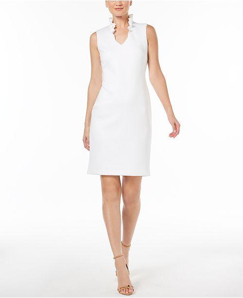 54fb4f7a47387 Calvin Klein Ruffled-Collar Scuba Sheath Dress   Reviews - Dresses ...