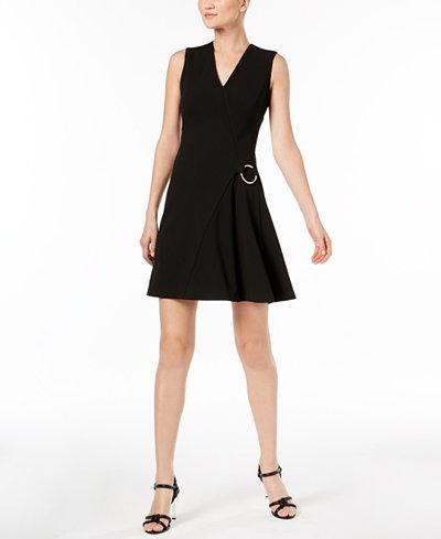 Calvin Klein V-Neck O-Ring Dress