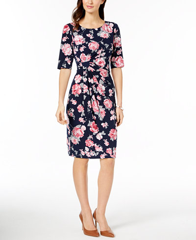 Connected Floral-Print Sarong Dress
