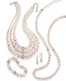 Charter Club Gold Tone Pave & Imitation Pink Ombre Pearl Jewelry Collection, Created for Macy's