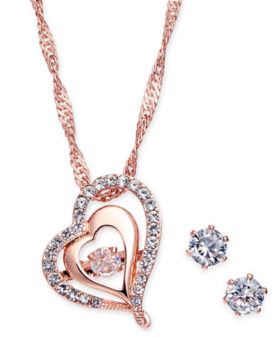 Charter Club Rose Gold-Tone Crystal Heart Pendant Necklace & Stud Earrings Set, Created for Macy's