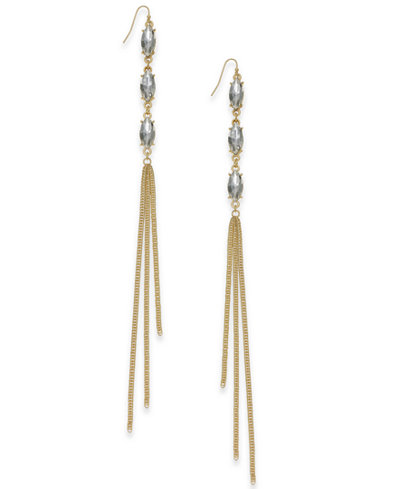 Thalia Sodi Gold-Tone Gray Stone & Chain Tassel Drop Earrings, Created for Macy's