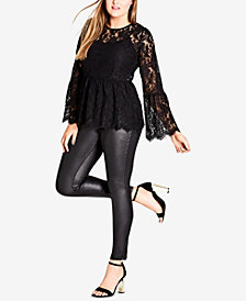 City Chic Trendy Plus Size Lace Peplum Top