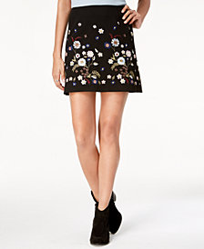 One Hart Juniors' Embroidered Mini Skirt, Created for Macy's