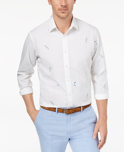 Club Room Men's Bird-Print Shirt, Created for Macy's