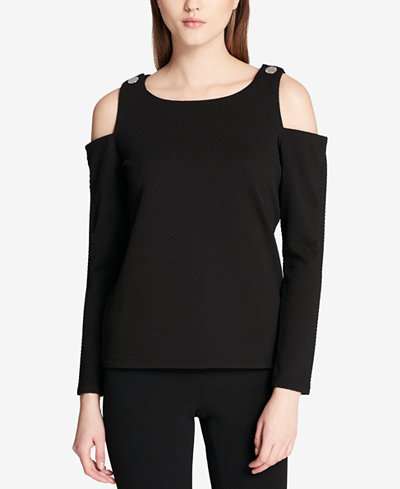 Calvin Klein Textured Cold-Shoulder Top