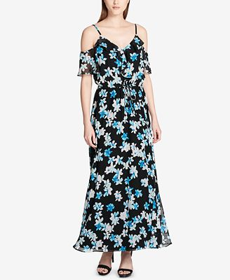 Calvin Klein Printed Ruffled Cold Shoulder Maxi Dress Dresses
