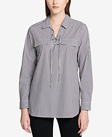 Calvin Klein Striped Lace-Up Roll-Sleeve Blouse