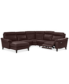 Pirello II 5-Pc. Leather Sectional Sofa with Chaise, 1 Power Recliner with Power Headrest and USB Port, Created for Macy's