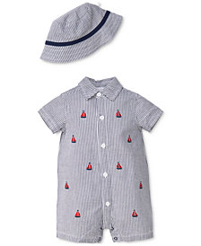 Little Me 2-Pc. Cotton Seersucker Romper & Hat Set, Baby Boys
